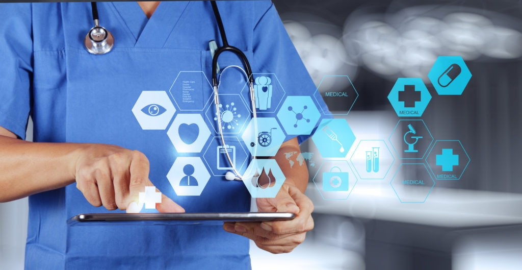 image of Medicine doctor hand working with modern computer interface